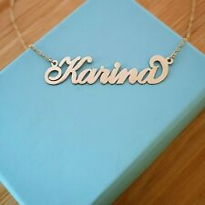 Personalized Name Necklace 14k Pure Gold Custom Made Any Name real gold 14 ct