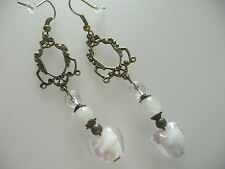 Vintage Deco Style White Jade, Crystal & Murano Floral Glass Heart Long Earrings