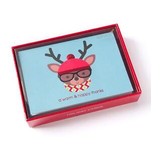 Papyrus A Warm and Happy Thanks Hipster Deer Box 12 Cards Christmas holiday