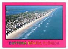 Daytona Beach Florida Postcard White Sandy Beaches Blue Surf Aerial View Pink