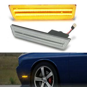 Clear Lens For Dodge Challenger 2008-2014 LED Side Marker Lights Front Amber 2x