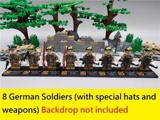 WWII German 8 Mini figure Camouflage Soldier WW2 block arm badge hat custom moc