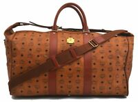 Authentic MCM Cognac Visetos Leather Vintage 2Way Boston Bag Brown B6780