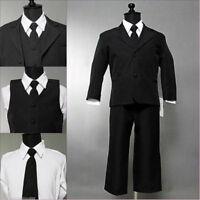 Boys Black formal suit Fancy wedding Christmas Holiday set long tie vest pants