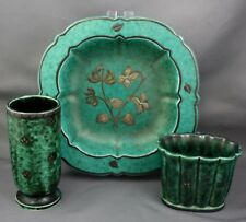 Lot 3 Gustausberg Sweden Argenta Silver Overlay Vase Tray Container Floral Green