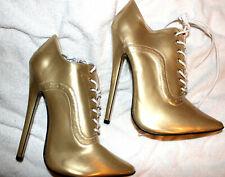 ultra high heels, Schnürpumps, Gr. 44/45, gold,  Absatz 18 cm, klassisch