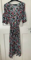 ZARA FLOWING FLORAL PRINT BUTTON DOWN SHIRT DRESS WITH PUFF SLEEVES SIZE L BNWT
