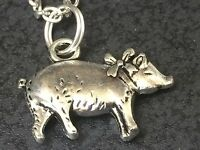 """Pig with Bow Charm Tibetan Silver Necklace 18"""" BIN"""