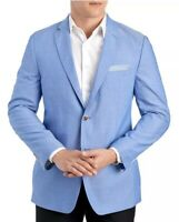 Alan Flusser Mens Blue Chambray Blazer Sports Coat Jacket NWT $250 Size 48 R