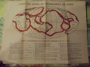 Ancien Document Carte Zones de Tremblement de Terre Activité Sismique 63 à 1963