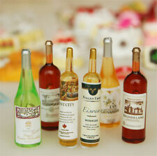Set of 6Pcs Miniature Colorful Wine Bottles For 1:12 Dollhouse Kitchen Decor NEW