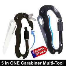 5in1 MULTITOOL CARABINER SURVIVAL FOLDING KNIFE HIKING CLIMBING CAMPING FISHING