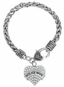 Police Wife Lives Matter Thin Blue Line Antique Silver Heart Toggle Bracelet