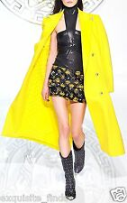 New Versace Long Wool Cashmere Coat In Yellow 38