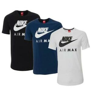 Nike Air Max Mens T Shirt White Blue Black Athletic Jersey Cotton Sports Tee