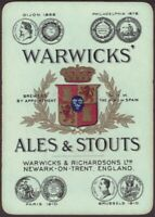 Playing Cards Single Card Old Wide WARWICKS Brewery ALES STOUT BEER Advertising
