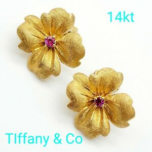 Authentic Vintage Tiffany & Co Flower Clip Earrings 14kt Yellow Gold Ruby German