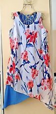 Adorable BLUE/ White/ Red Silky 2 Layers Asymmetric Dress Sleeveless Size L NWOT