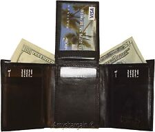 Men's Wallet,1 Center piece Trifold, Men's 2 billfold 2 ID 9 card Trifold wallet