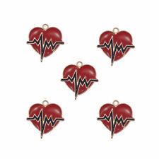 Lot of 10 Enamel Metal Red Heart Shaped ECG Pendants Charms DIY Jewelry Findings