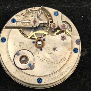 Antique Longines E. Francillon Pocket Watch Movement 38MM Key W&S Runs c. 1875