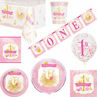 Girls Pink & Gold 'One' 1st Birthday Party Tableware & Decorations