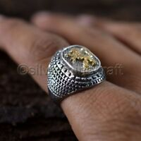 LION OF JUDAH HOLY JERUSALEM WESTERN WALL 925 STERLING SILVER GOLD MENS RING