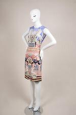Mary Katrantzou NWT $1550 Blue Pink Multicolor Floral Horse Print Dress SZ 8