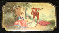 Antique Victorian Sterling Silver Hand Painted 18th Century Scene Shabby Chic