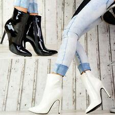 Neu Damen Stiefeletten Pumps LACK Schuhe Party High Heels Stilettos GOGO SeXy