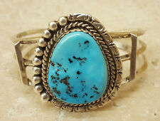 NICE WIDE SIGNED STERLING SILVER TURQUOISE NATIVE AMERICAN INDIAN BRACELET CUFF
