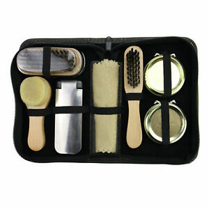 Shoe Care Kit 7- Piece Travel Size Complete Shoe Polish & Shine Set Pukkr