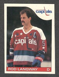1985-86 ROD LANGWAY #8 NM-MT OPC Key Capitals HALL OF FAME Star NHL Hockey Card