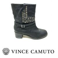 Vince Camuto Sz 7.5 Donato Black Leather Stack Heel Studded Ankle Boots Booties