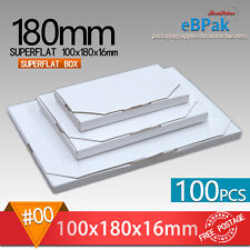 100x Mailing Box #00 SuperFlat 180x100x16mm Large Letter Size * Rigid Envelope
