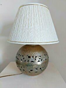 Large Brass Lamp 22cm diameter with Beautiful Chevron Pleat Shade