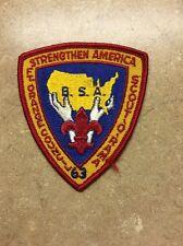 1963 BSA  FT. ORANGE COUNCIL STRENGTHEN AMERICA  SCOUT-O-RAMA PATCH