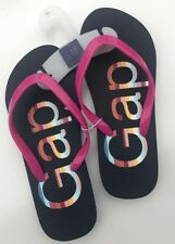NEW GAP Kids Girl's Adorable Pink & Blue Rainbow LOGO Flip Flop Sandal Shoe 1 2