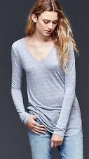NWT Gap Women's Grey Blue Stripe Drapey Tee Top size PL
