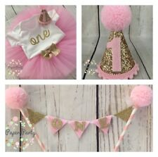 Pink And Gold Cake Smash/1st Birthday Outfit With Mini Party Hat & Cake Topper