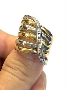 Estate Diamond 18K Two Toned Gold Wide Crossover Ring 11.3g