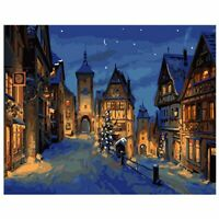 Christmas Eve DIY Paint By Numbers Number Canvas Hand Painted Painting Town City