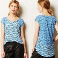 Akemi + Kin Anthropologie Meuse Blue Printed Hi Lo Blouse Top Size XS Ikat