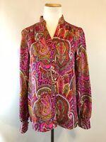TIBI Silk Paisley Print Colorful Orange Pink Yellow Gold Blouse Top Size 2