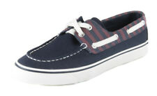 Sperry Women's Navy Burgundy Biscayne Stripe Canvas Boat Shoes Ret $59.99 New