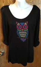 Black 3/4 Sleeve Owl Shirt