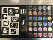 Professional Glitter Tattoo Kit Palette + 50 Stencils Body Art Business Starter