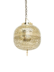 Moroccan Ceiling Light Lantern Ball Shaped Round in Gold -4 Sizes- Free PP UK