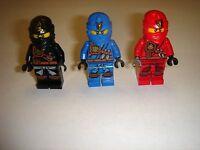 3 Lego Ninjago jay ,cole & kai Minifigures New 2015 ZUKIN lot