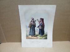 PYRENEES ancienne gravure couleur Paysannes de la Vallée de Campan fileuses